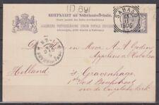 Nederlands Indie Nederlands Indies POSTSTUK SABANG naar 's GRAVENHAGE 13-11-1905