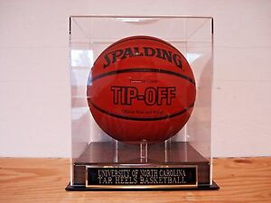 North Carolina Tar Heels Basketball Display Case With A Engraved Nameplate