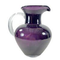 "Vintage Murano Style Purple Pitcher Art Glass 9""T 5""W Carafe Amethyst Glass"