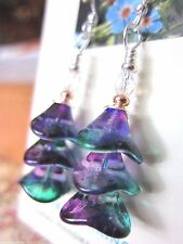 Folk Art Silver Christmas Tree EARRINGS Artisan USA Kirsten Handmade Wavy Purple