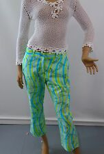 Lilly Pulitzer Cropped Pants Stretch Making Waves Blue Green Fishes Size 8