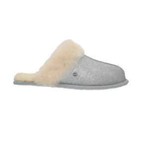 UGG Scuffette II Womens Sparkle Sheepskin Slippers Silver NEW AUTHENTIC