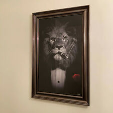 Large LION suited picture scarface leo ganster cigar 116cm x 76cm