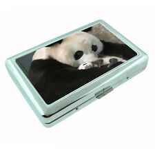 Panda Metal Silver Cigarette Case D4 Giant Bear Black and White Cute Fluffy Rare