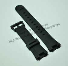Black Rubber watch band Strap compatible for Casio EF-305-1AV, EF-305-9AV