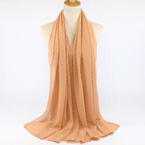 New Women's Chiffon Scarf Hijab Shawls Muslim Wraps Scarves Headband Plain Color