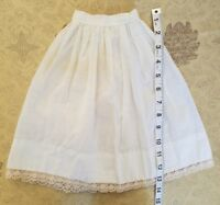 Vintage Doll Slip Petticoat Lace Skirt Teddy Bear Primitive Hand stitched A35