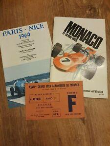 MONACO  GRAND PRIX PROGRAMME 1969 + Ticket
