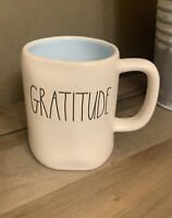 Rae Dunn - GRATITUDE - LL White Ceramic Coffee Mug - Blue Interior