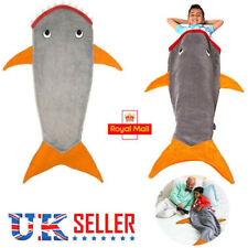 Kids Boy Shark Mermaid Tail Soft Fleece Blanket Snuggle-in Costume Sleeping Bag