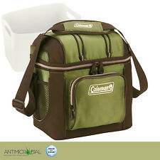 Coleman Soft Cooler Bag 9 CAN Green With Hard Liner 2 Mesh & 2 Zippered Pockets