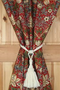 William Morris Strawberry Thief Winter Portiere Velvet Lined Door Curtain