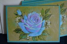 Vintage Hallmark Blank Note Cards Plastic Box Blue Rose Flower Lot 10 Embossed