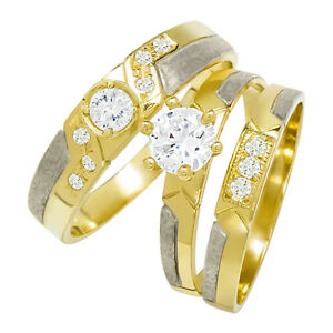 14k Two Tone Gold Round Cubic Zirconia Bridal Wedding Trio Ring Set (0.98 cttw)