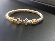 Vahan Sterling Silver & 14K Yellow Gold Sm. Diamond Cross Bangle Bracelet - NEW