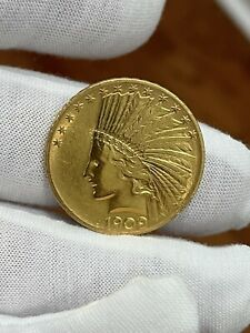 1909 $10 Gold Indian Head Coin in uncirculated condition