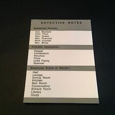 CLUEDO detective notes x 20 sheets spare parts / replacements Pad
