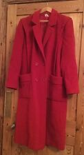 Vintage Women's Ladies Wool Winter Warm Red Trench Overcoat Lined Button Front
