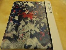 Frosty Clear Navy Blue~Red Blotchy abstract Peva vinyl Shower Curtain~Grommets