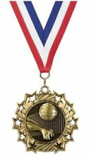 """2.25"""" Antique Gold Volleyball Medal Red/White/Blue Ribbon Free Engraving"""