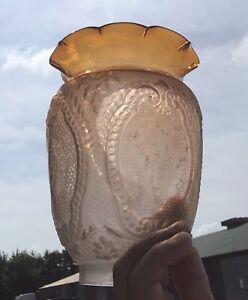 Antique French? Oil Lamp Shade Peg Lamp/Gaudard Shade/Kosmos Acid Etched Shade