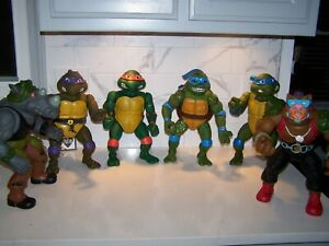"GIANT 13"" Teenage Mutant Ninja Turtles LOT OF 6 Figures w/ Bebop & Rocksteady"