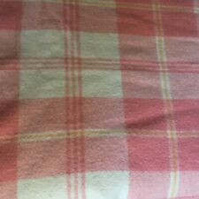 "Vintage Pink Cream Wool Plaid Blanket 72""x98"""