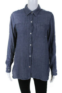 Pure DKNY Womens Button Down Shirt Blue Size Small