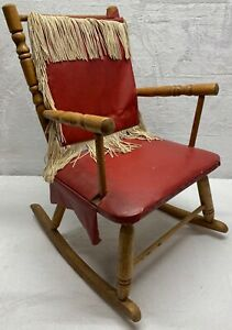 Vintage Childs Rocking Chair Hard Wood Frame with Fringe Red Leather Western