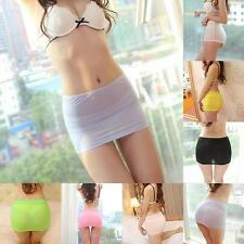 Sexy Women transparent Stretch Tight Short Bodycon Lady Pleated Mini Skirt Hot