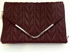 New BCBGeneration Leather Clutch Purse Handbag Maroon Burgundy