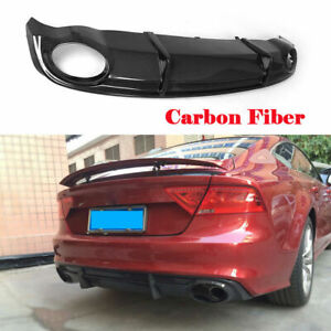 Carbon Fiber Rear Bumper Diffuser Lip Spoiler Fit For Audi A7 Sline 2011-2014