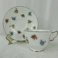 Vintage Crown Staffordshire Floral Bouquet Bone China Footed Cup & Saucer Set