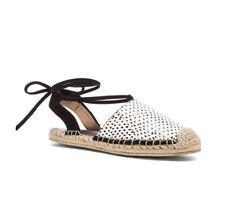 RAYE Dani Black & White Tie Up Polka Dot Espadrilles Flats Sandals SZ 37 (6.5)