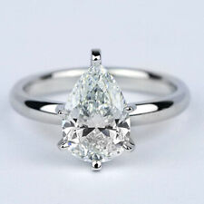 2.01 Ct I VVS2 Solitaire Pear Cut Natural Diamond Engagement Ring White Gold