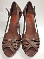 Michael Kors Brown Cross Toe Cute Heels Shoes Size 6 Orange Label Buckle