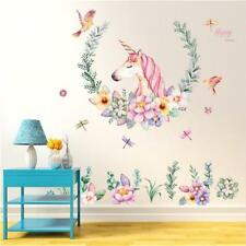 DIY Unicorn Flower Removable Vinyl Decal Wall Sticker Art Mural Room Decor New S