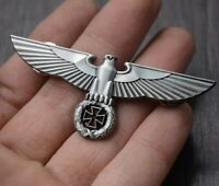 WWII German Perched Eagle Cap Pin Badge Iron Cross Medal Silver Wehrmacht Emblem