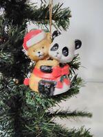 Christmas Ornament Best Friends Hand Painted Bisque Porcelain Bell - Panda/Bear