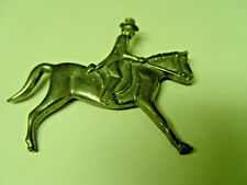 Equestrian Horse Rider Horseman Vintage Pin Brooch AXCESS English Pewter