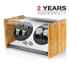 4 Watch Winder Display Box Bamboo Crystal Automatic Rotation Dual Double