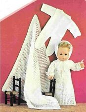 Dolls Clothes Knitting Pattern Copy 4 Ply gown sleeping suit shawl  36 cm doll