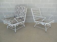 Vintage Wrought Iron Woodard Style Pair Rocking Arm Chairs