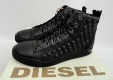 Men's Diesel Black Leather HI Top Trainers Shoes Boots UK8 EU42 US9 RRP250GBP