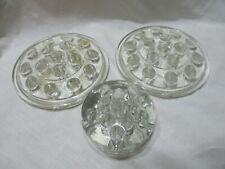 3 Vintage Glass Flower Frogs, 2 With 16 Holes, 1 With 11 Holes.