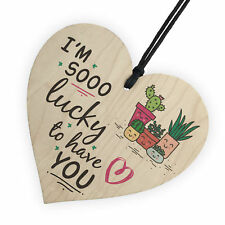 Lucky To Have You Friendship Anniversary Sign Wood Heart Plaque Thank You Gift