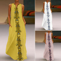 ZANZEA Women Sleeveless Long Maxi Dress Floral Print Ethnic Party Tank Dress