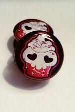 acrylic heart gauge piercing tunnel 6mm-25mm Skull cupcake plugs Pair 2 pink