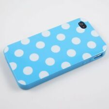 For Apple iPhone 4 4S TPU CANDY Gel Flexi Skin Case Cover Blue Polka Dots