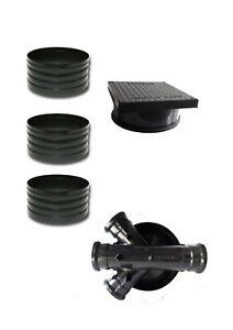 320mm Manhole Inspection Chamber Square Cover/Lid 3x Riser Base Set